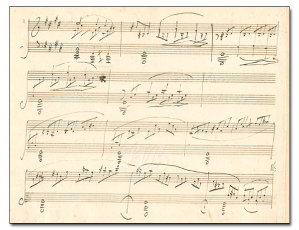 Manuscrit de la sonate de Beethoven